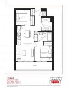 Two Bedroom + Study - Floor Plan TC743 page 1 232x300