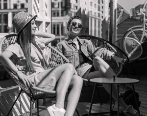 young female students relaxing in the sun